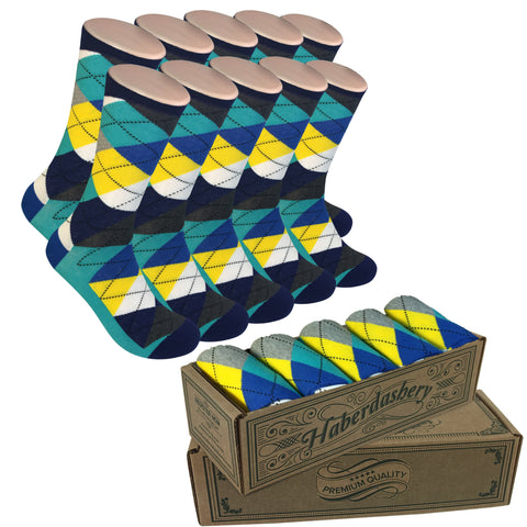 5 Pair Groomsmen Wedding Party Socks - Grey/Yellow/Blue Argyle