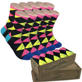 5 Pair Groomsmen Wedding Party Socks - Pink/Black/Yellow Argyle