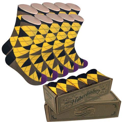 5 Pair Groomsmen Wedding Party Socks - Black/Yellow/Brown Argyle