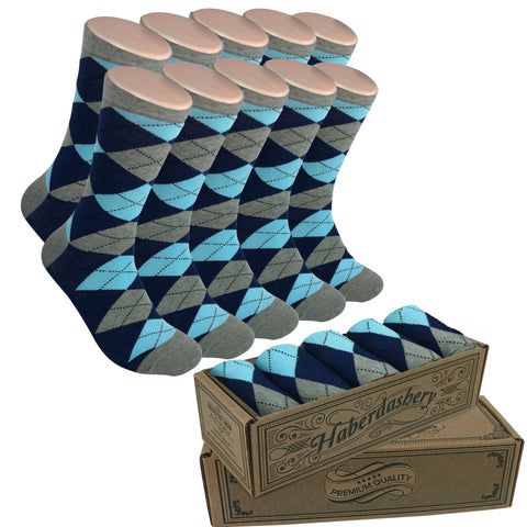 Wedding Party Socks - Gray Navy Sky Argyle