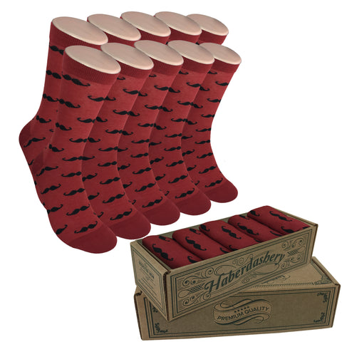 Wedding Party Socks - Burgundy with Black Mustaches