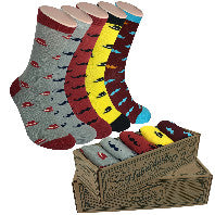 Men Novelty Fashion Dress Socks-5 Pair Fancy Power Sock-Fun Colorful Theme Socks
