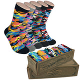 5 Pair Mens Funky Fun Colorful Cotton Socks-Hipster Power Socks-Theme Socks