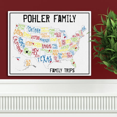 Americana Family Map Canvas