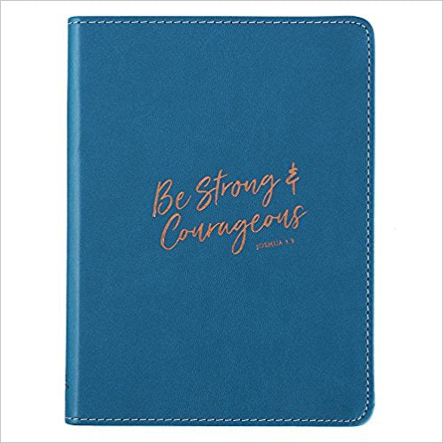 Journal Lux-Leather Flexcover Be Strong & Courageous, Blue