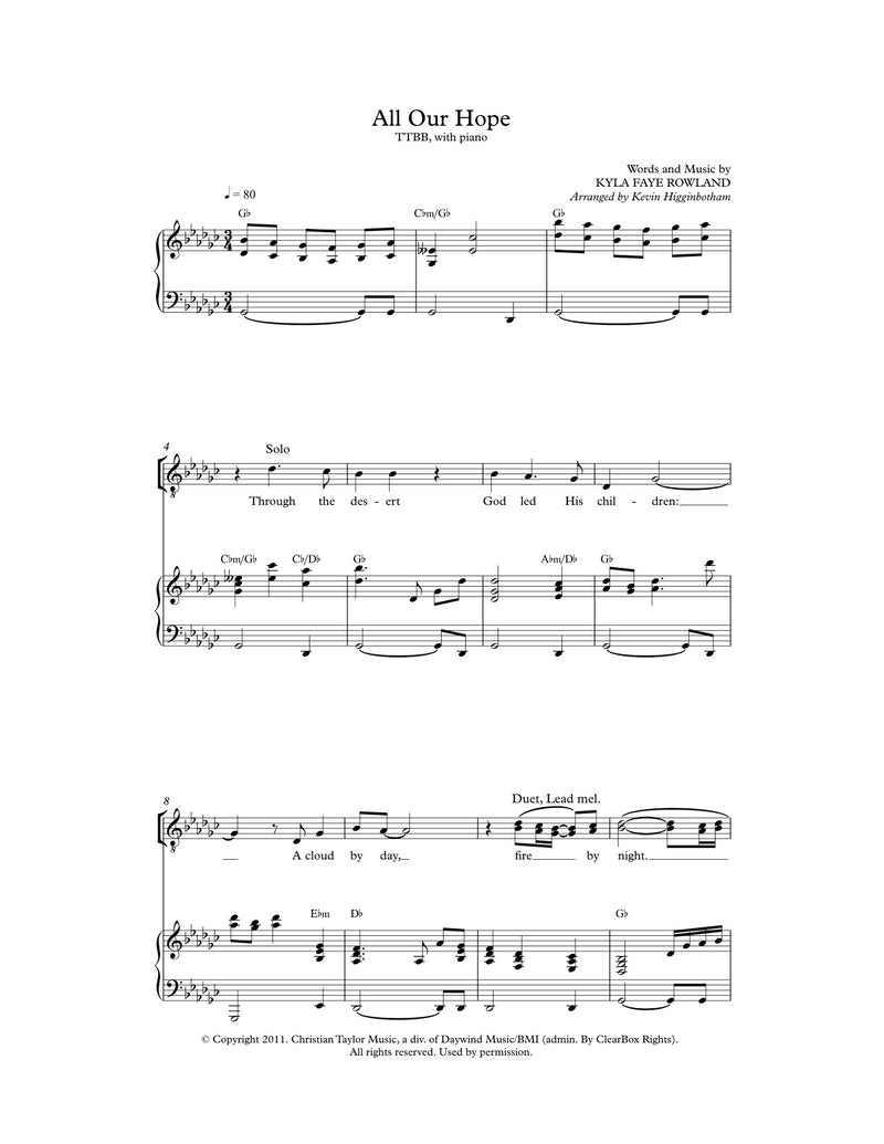 All Our Hope (Sheet Music)