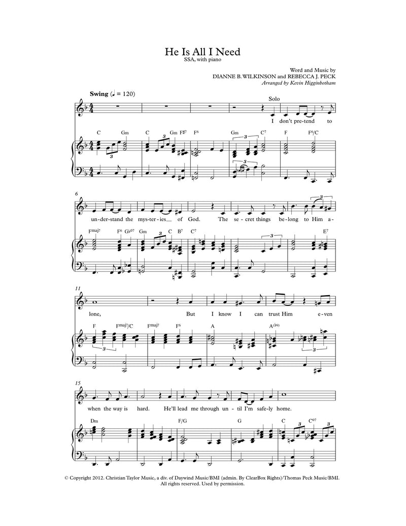 He Is All I Need (Sheet Music)
