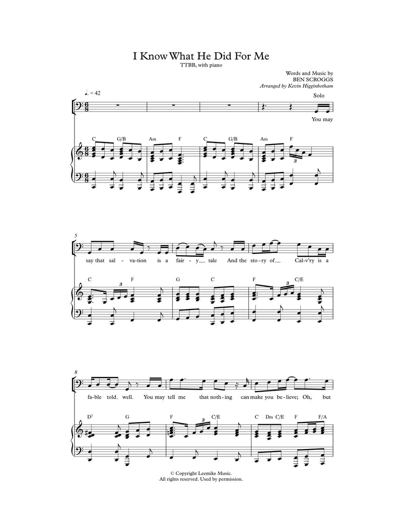 I Know What He Did for Me (Sheet Music)