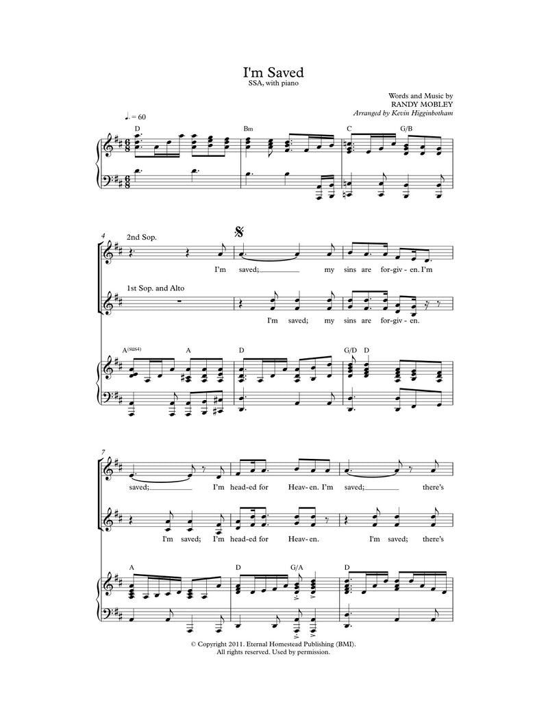 I'm Saved (Sheet Music)