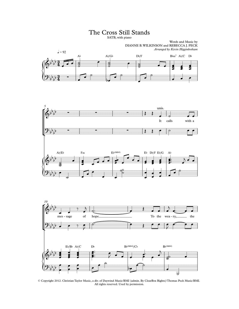 The Cross Still Stands (Sheet Music)