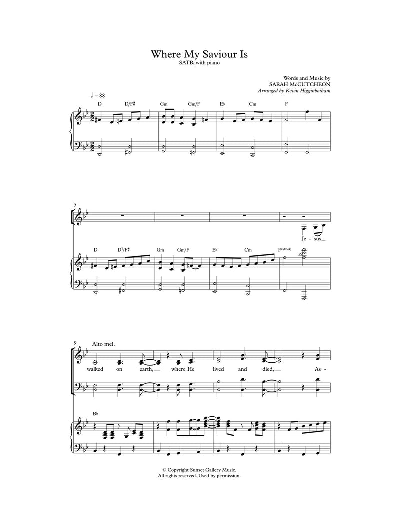Where My Saviour Is (Sheet Music)