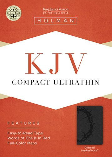KJV Compact Ultrathin Bible, Charcoal LeatherTouch