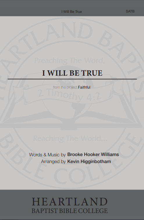 I Will Be True (Sheet Music)