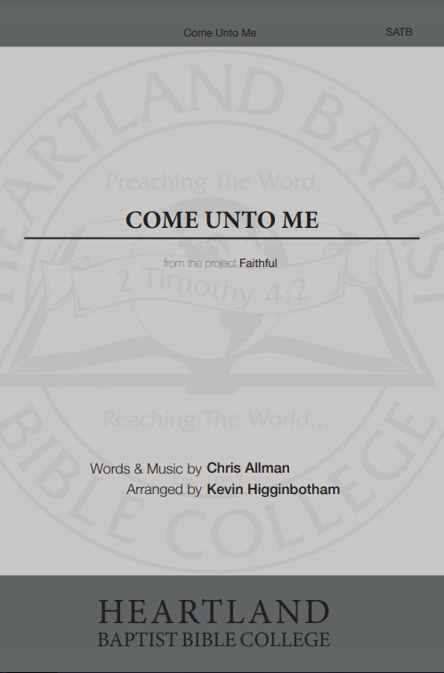 Come Unto Me (Sheet Music)