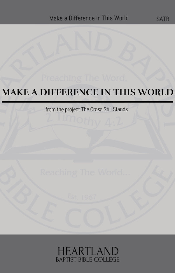 Make A Difference in This World (Sheet Music)