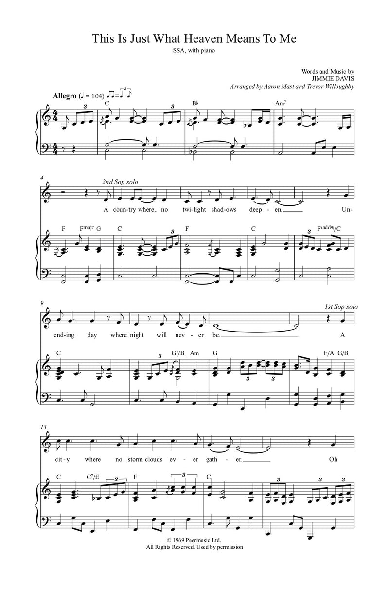This Is Just What Heaven Means to Me Sheet Music