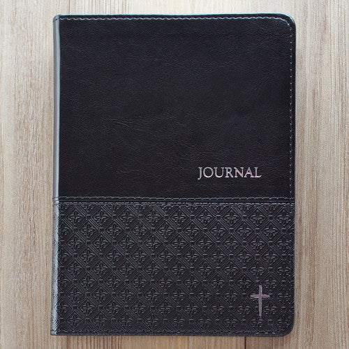 Black Flexcover Journal with Silver Cross