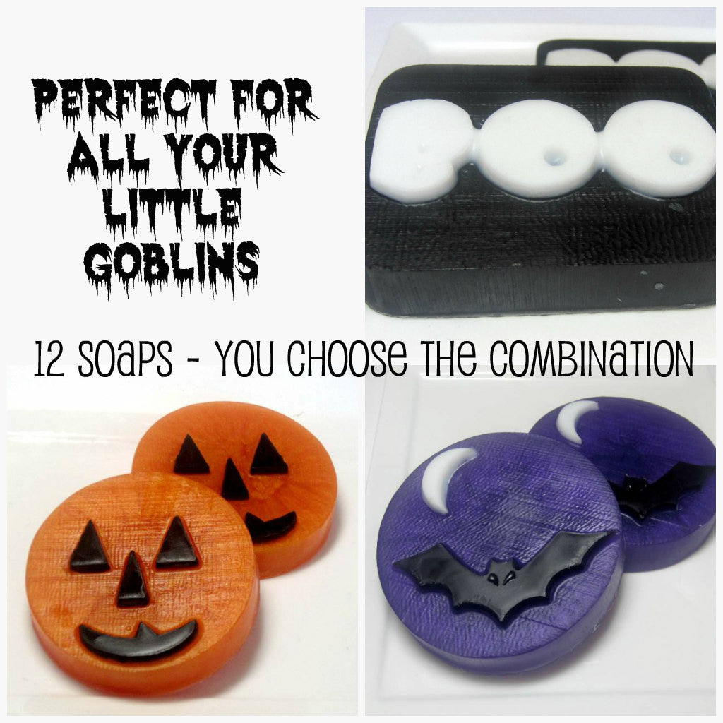Bat, Ghost and Pumpkin-12 Soaps - Bulk - Made to Order - You choose the combination
