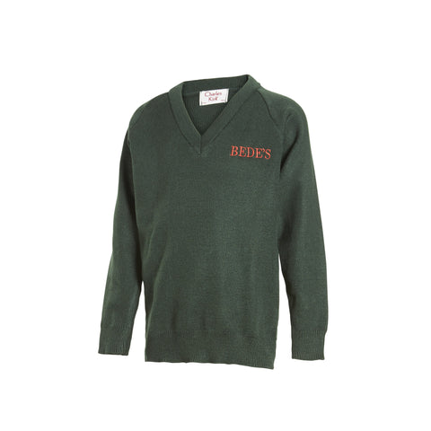 Pre-Prep and Prep V Neck Green Bede's Jumper