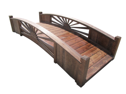 SamsGazebos 8 foot Sunburst Wood Garden Bridge