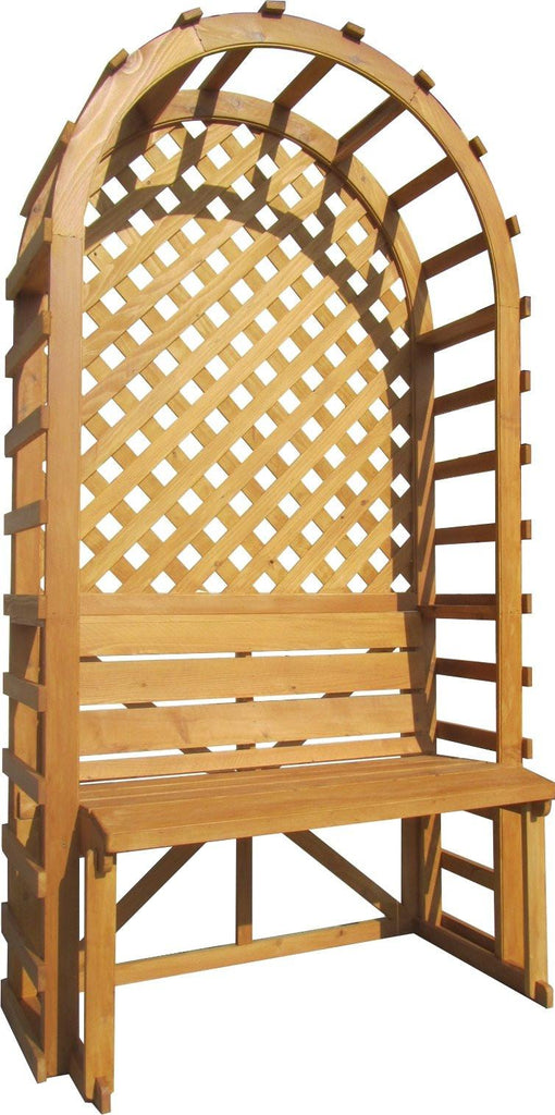 "Arbor - SamsGazebos English Cottage Garden Style Wood Arbor With Bench And Trellis Backdrop, 42""W X 80""H X 22""L, Waterproofed"
