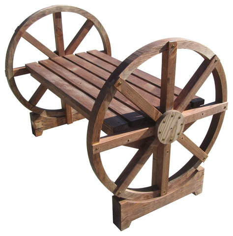SamsGazebos Country Wood Garden Bench with Wheel Legs, Treated Brown