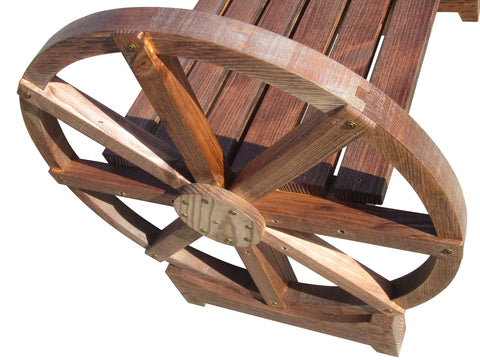 SamsGazebos Country Style Wood Garden Bench with Wheel Legs, Treated Brown