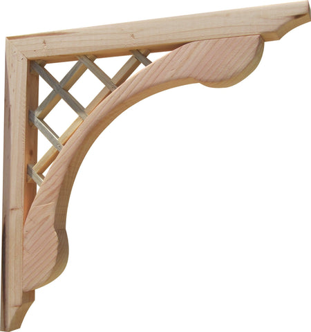 SamsGazebos Designer Outdoor Wood Corbels Brackets, 2-Pack, Lattice, 16-Inch