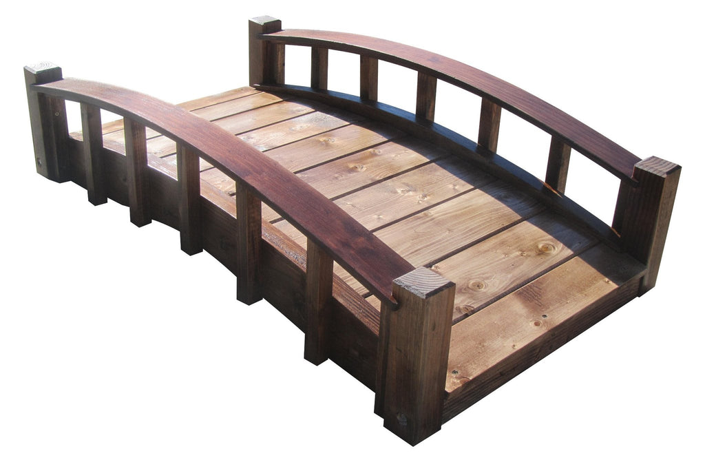 Garden Bridge - SamsGazebos 4-foot Japanese Wood Garden Bridge, Moon Bridge, Brown, Treated