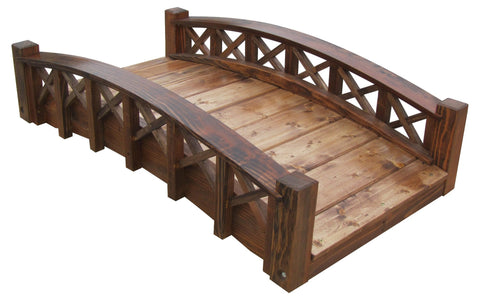 SamsGazebos 8-foot Rose Garden Wood Bridge with Ring Railings, Brown, Treated