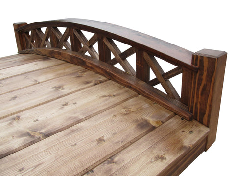 SamsGazebos 4-foot Swan Garden Bridge with Cross Halved Lattice Railings, Brown,Treated