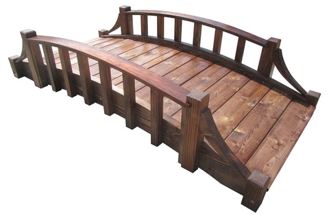SamsGazebos Miniature Japanese Wood Garden Bridge, 25-Inch, Brown, Treated