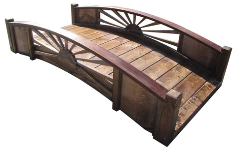 SamsGazebos 6-foot Sunburst Wood Garden Bridge, Treated Brown