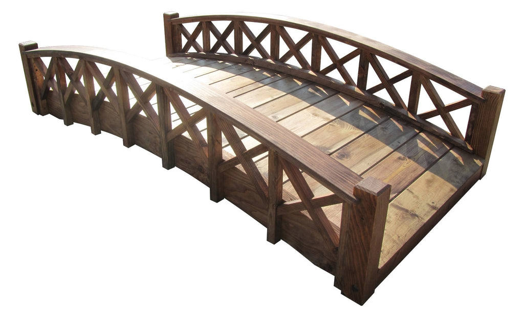 Garden Bridge - SamsGazebos 6-foot Swan Wood Garden Bridge With Lattice Railings, Brown, Treated