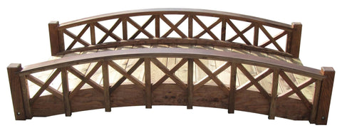 SamsGazebos 6-foot Swan Wood Garden Bridge with Lattice Railings, Treated Brown