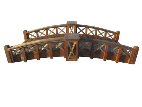 SamsGazebos 7 foot Secret Garden Bridge with Half Halved Lattice Rails