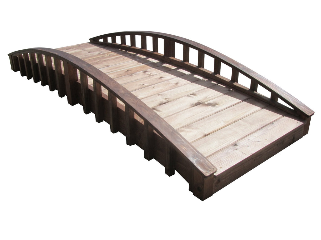 SamsGazebos 8-foot Crescent Japanese Wood Garden Bridge, Treated Brown - SamsGazebos DIY Garden Structures