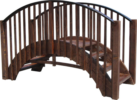 SamsGazebos 8-foot Imperial Wood Garden Stair Bridge, Treated Brown
