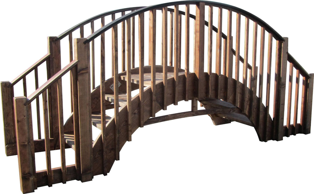 Garden Bridge - SamsGazebos 8-foot Japanese Imperial Wood Garden Stair Bridge With 4 Rail Extensions, Brown, Treated