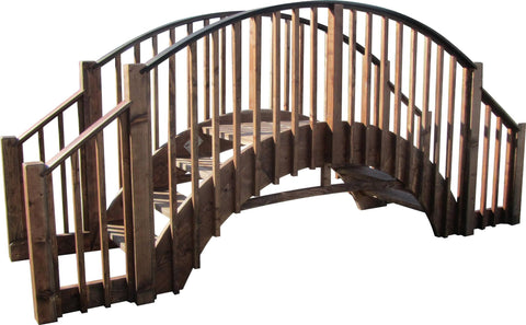 SamsGazebos 8-foot Imperial Wood Garden Stair Bridge with 4 Rail Extensions, Treated Brown