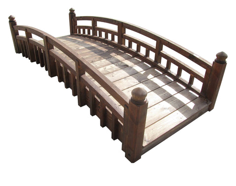 SamsGazebos 8-foot Japanese Taiko Wood Garden Bridge with Finials, Treated Brown