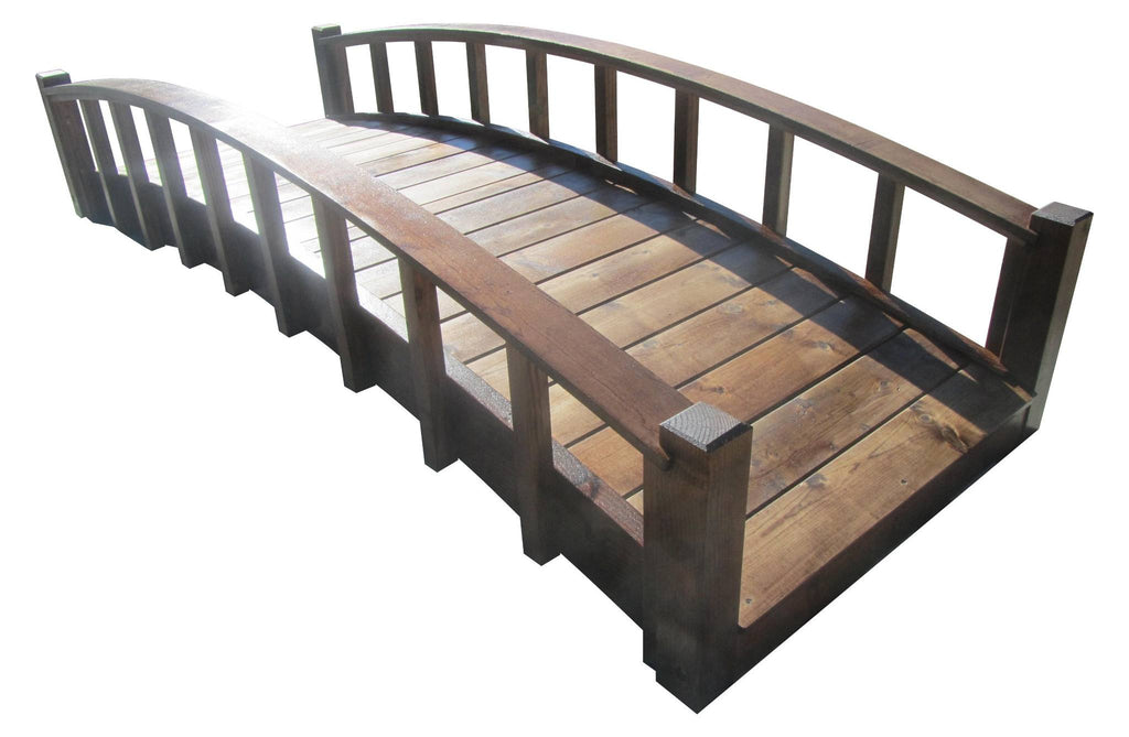 Garden Bridge - SamsGazebos 8-foot Japanese Wood Garden Bridge, Moon Bridge, Brown, Treated