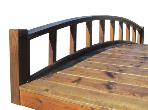 SamsGazebos 8-foot Japanese Wood Garden Bridge, Moon Bridge, Brown, Treated
