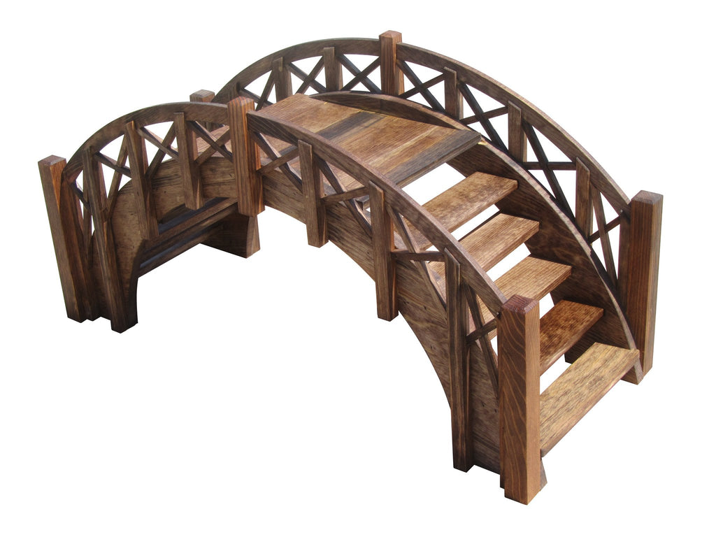 Garden Bridge - SamsGazebos Fairy Tale Wood Garden Stair Bridge With Cross Halved Lattice Railings, 33-Inch, Brown, Treated
