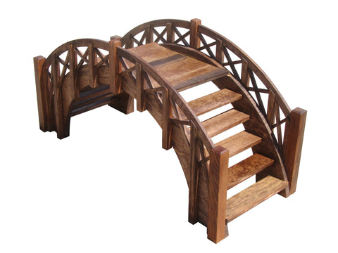 SamsGazebos Fairy Tale Wood Garden Stair Bridge with Lattice Railings, 33-Inch, Treated
