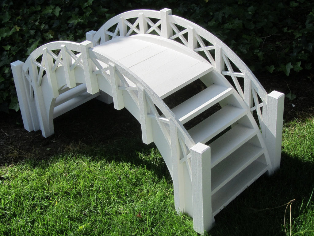 Garden Bridge - SamsGazebos Fairy Tale Wood Garden Stair Bridge With Cross Halved Lattice Railings, 33-Inch, White