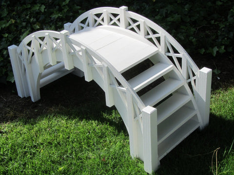 SamsGazebos Fairy Tale Wood Garden Stair Bridge with Lattice Railings, 33-Inch, White