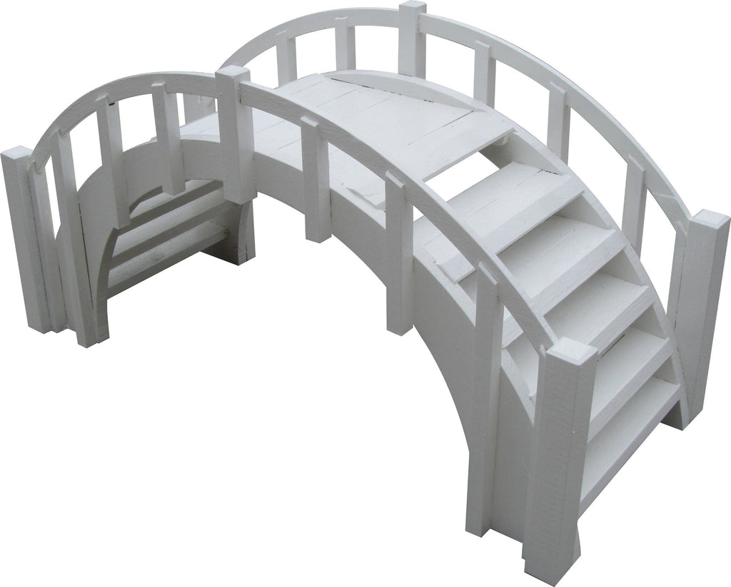 Garden Bridge - SamsGazebos Fairy Tale Wood Garden Stair Bridge With Picket Railings, 33-Inch, White
