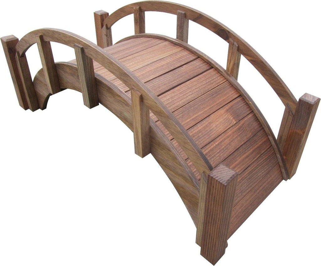 Garden Bridge - SamsGazebos Miniature Japanese Wood Garden Bridge, 25-Inch, Brown, Treated