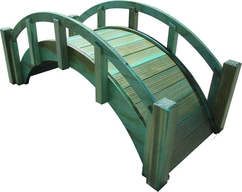 SamsGazebos Miniature Japanese Wood Garden Bridge, 25-Inch, Green, Treated